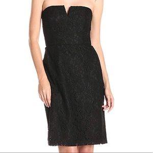 Donna Morgan Quinn Short Strapless Lace Dress